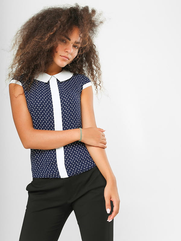Блуза синяя в принт   4907567   фото 2
