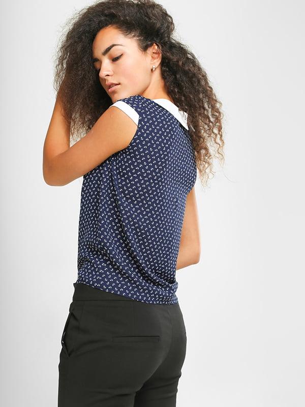 Блуза синяя в принт   4907567   фото 3