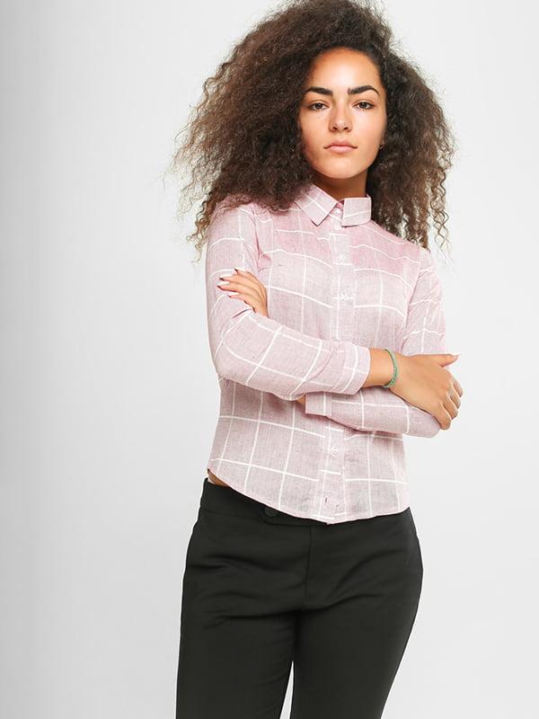 Рубашка розовая в клетку | 4907577