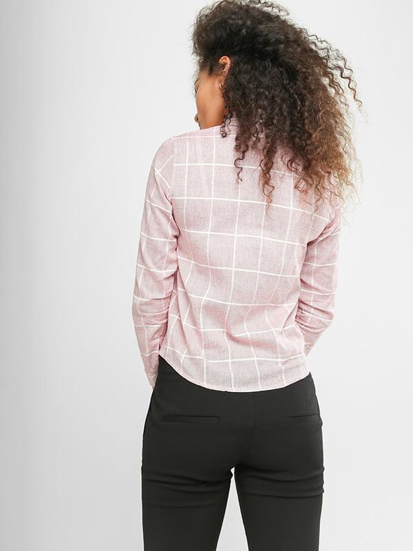 Рубашка розовая в клетку | 4907577 | фото 2
