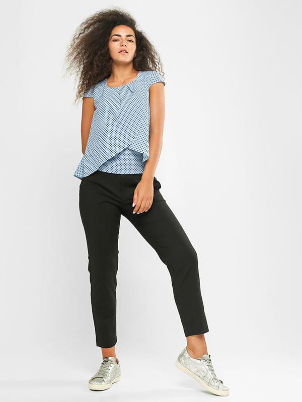 Блуза голубая в принт | 4907579