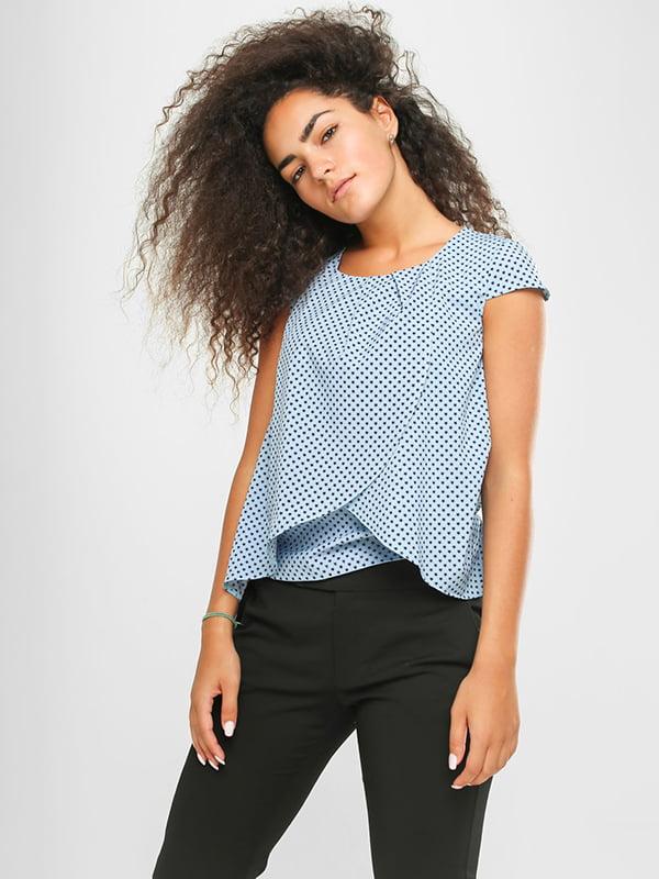 Блуза голубая в принт | 4907579 | фото 2