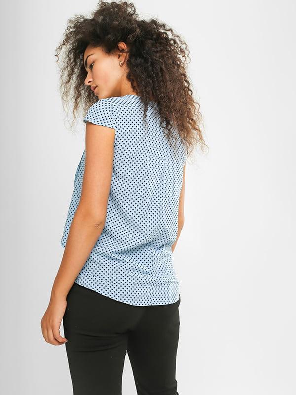 Блуза голубая в принт | 4907579 | фото 3