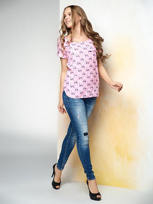 Блуза рожева в принт | 4907605 | фото 2