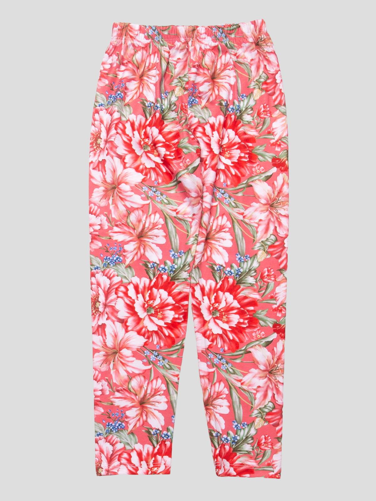 Леггинсы коралловые в цветочный принт   4909330