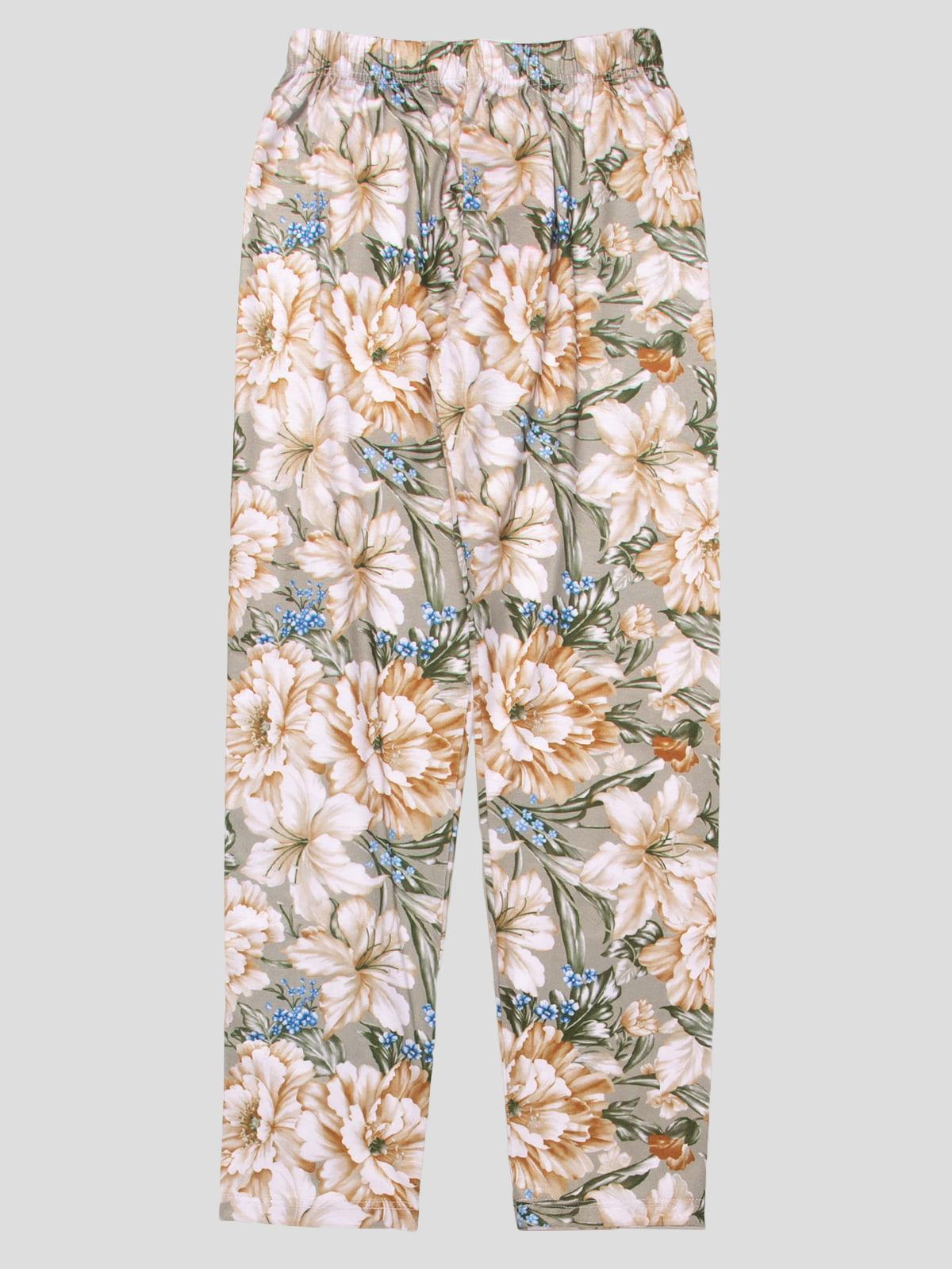 Леггинсы бежево-зеленые в цветочный принт | 4909329