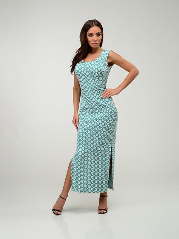 Сукня бірюзова в принт   4910944