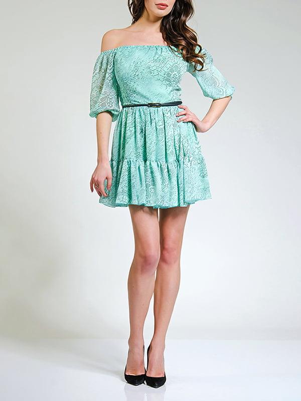 Сукня блакитна у принт | 4910973