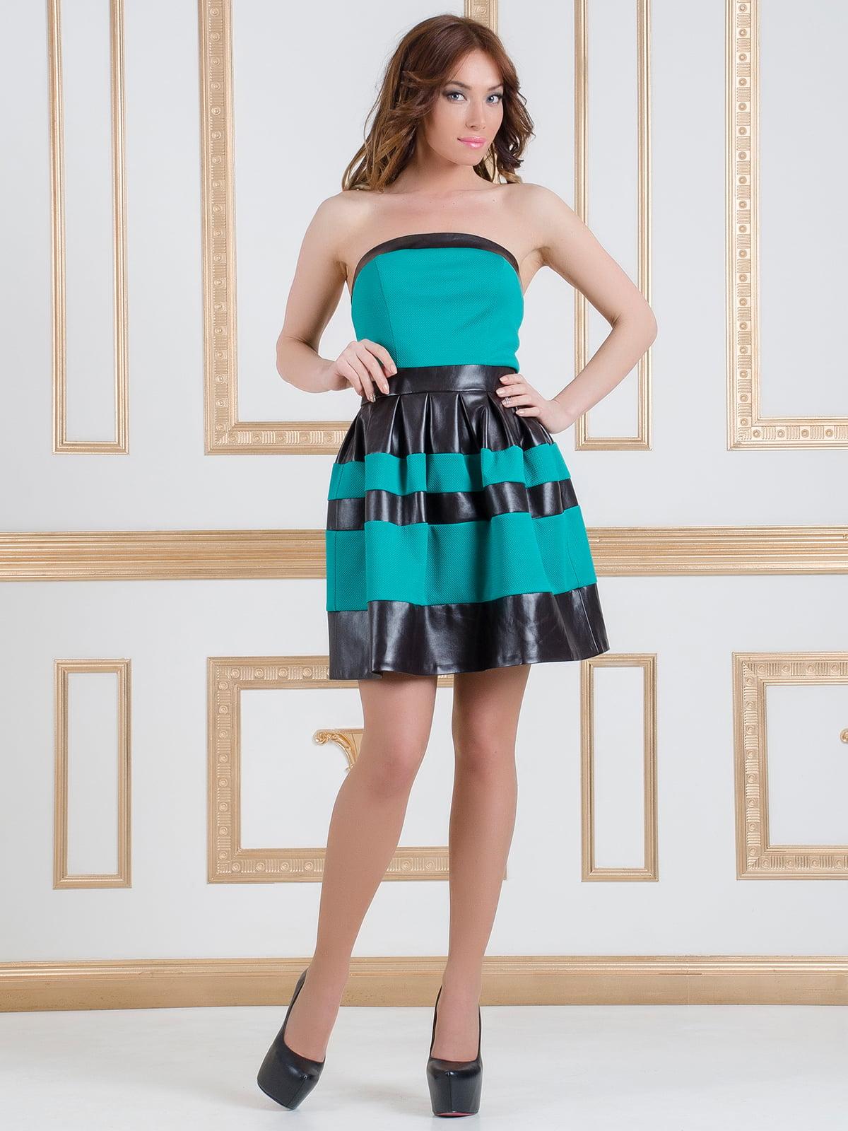 Сукня-бюстьє чорно-бірюзова | 4911102