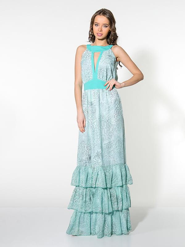 Платье бирюзовое в принт | 4911153