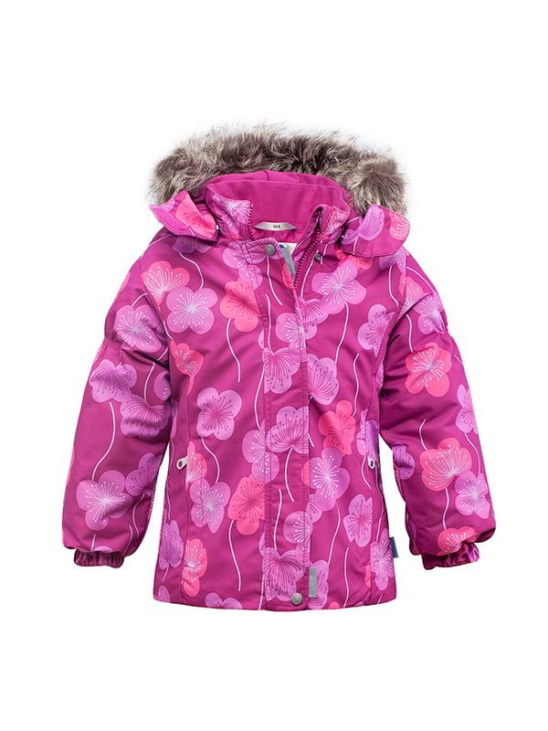 Куртка кольору фуксії в квітковий принт   165416   фото 2