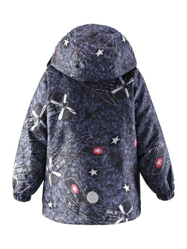 Куртка темно-синя в принт   4856451
