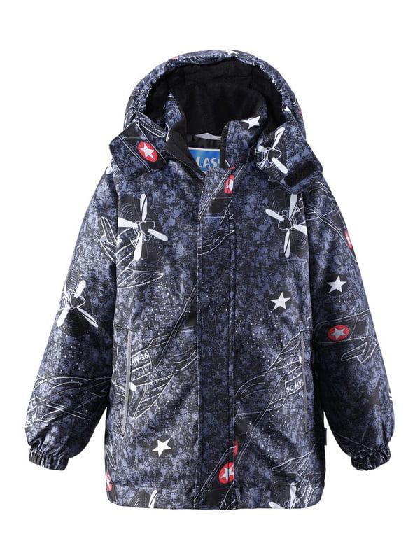Куртка темно-синя в принт   4856451   фото 3