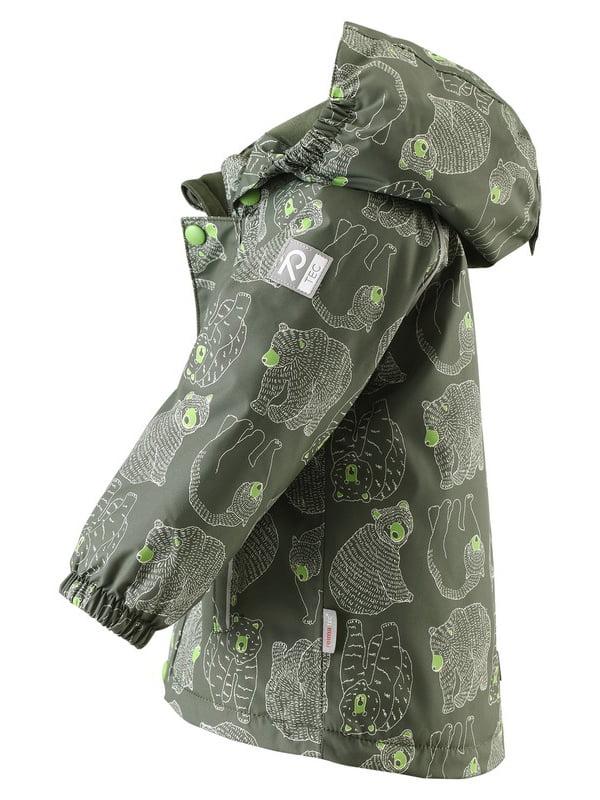 Куртка темно-зелена в принт | 4856623 | фото 2