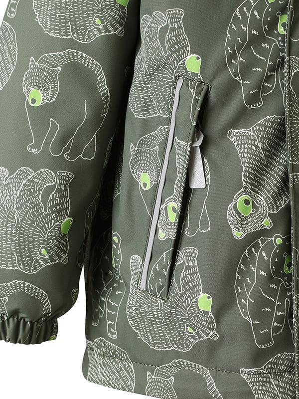 Куртка темно-зелена в принт | 4856623 | фото 3