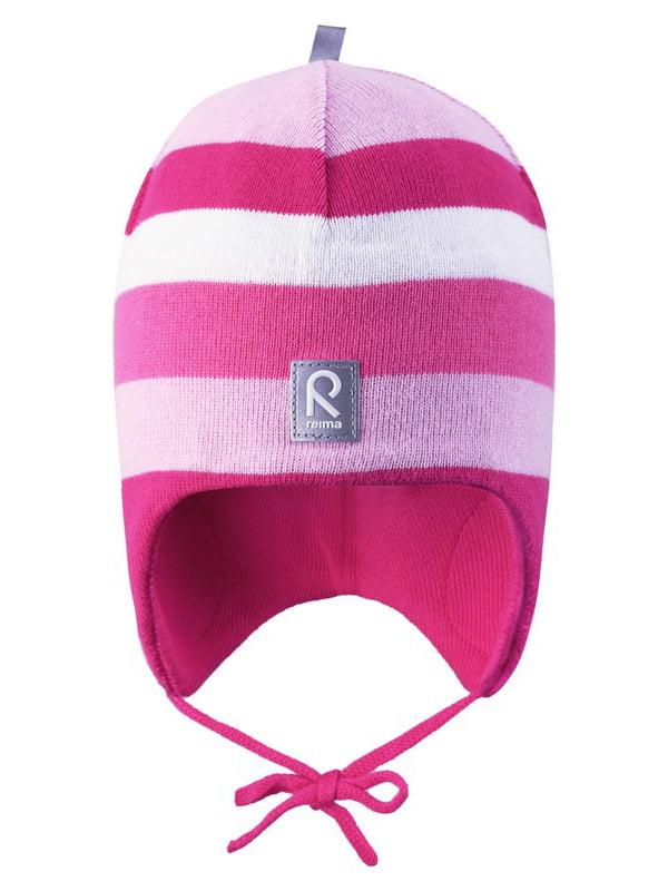 Шапка рожева в смужку | 4856640