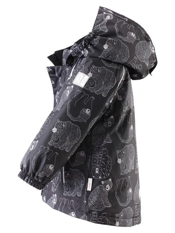 Куртка чорна в принт | 4856676 | фото 2