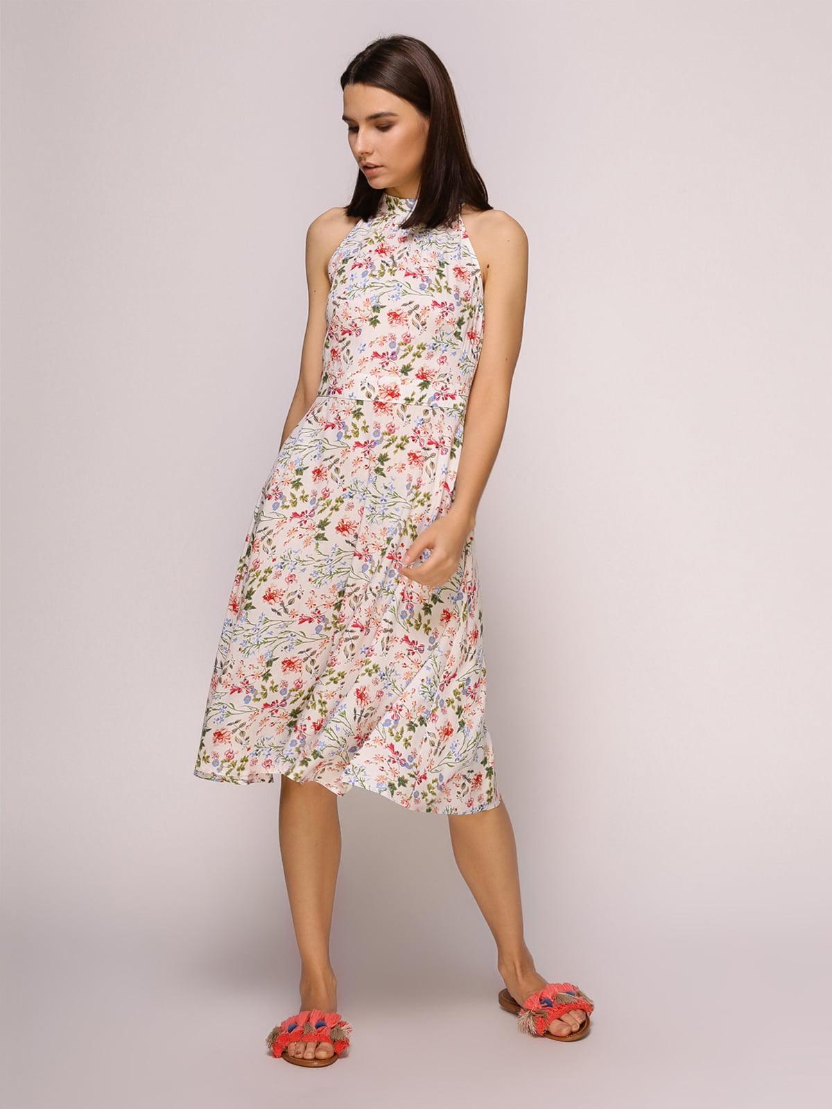 Платье белое в цветочный принт | 4915532