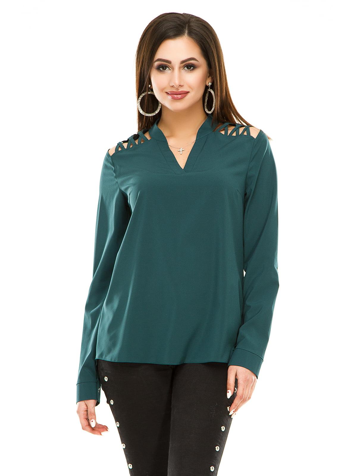 Блуза пляшкового кольору | 4917440