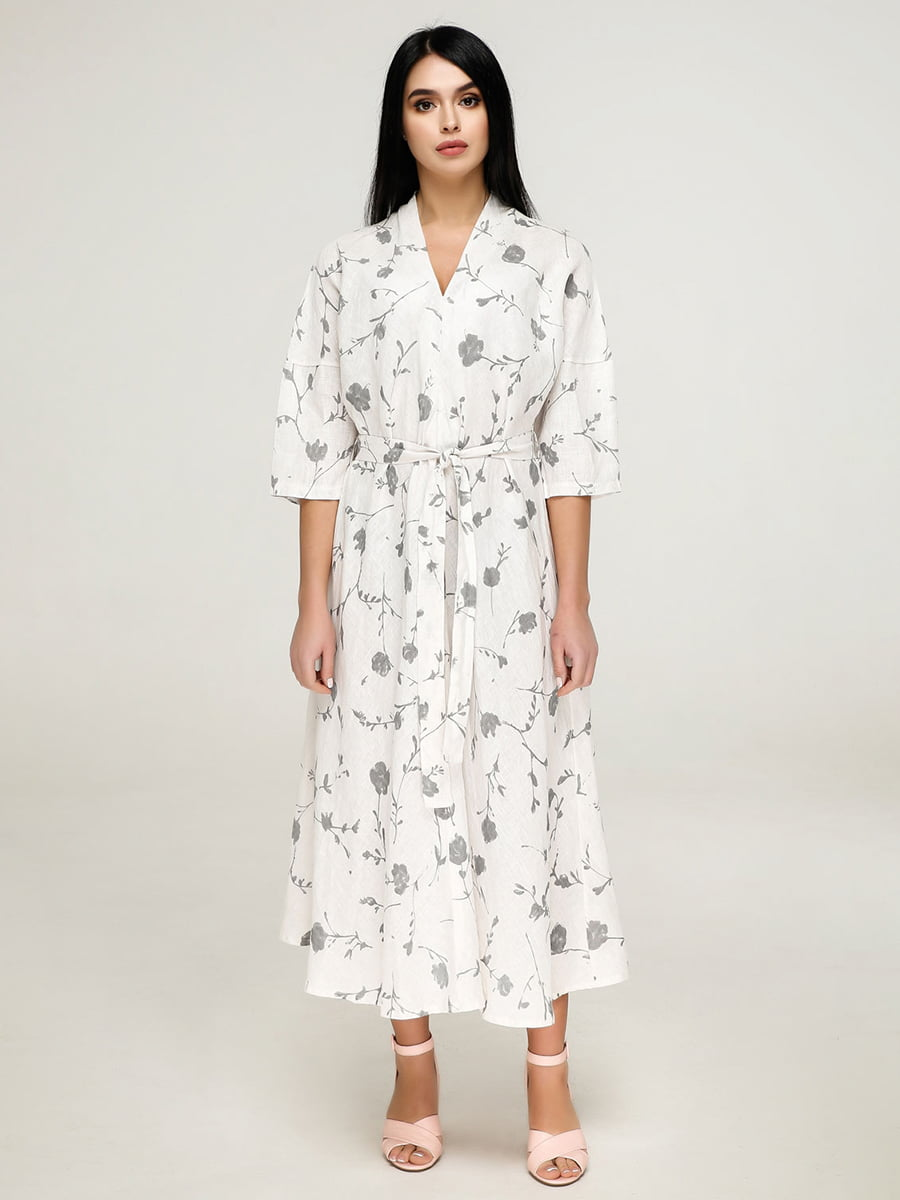 Платье белое в цветочный принт | 4917528