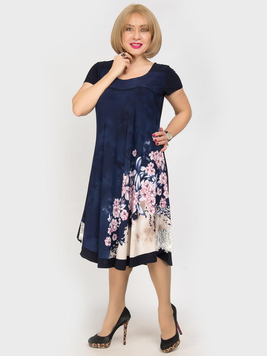 Платье синее с цветочным принтом | 4917818 | фото 2