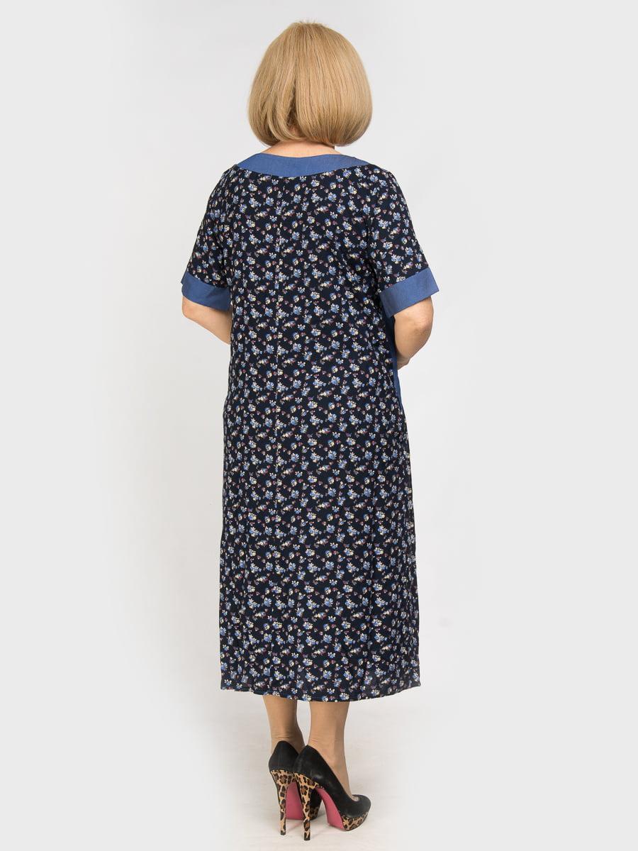 Сукня синя з квітковим принтом | 4917836 | фото 2