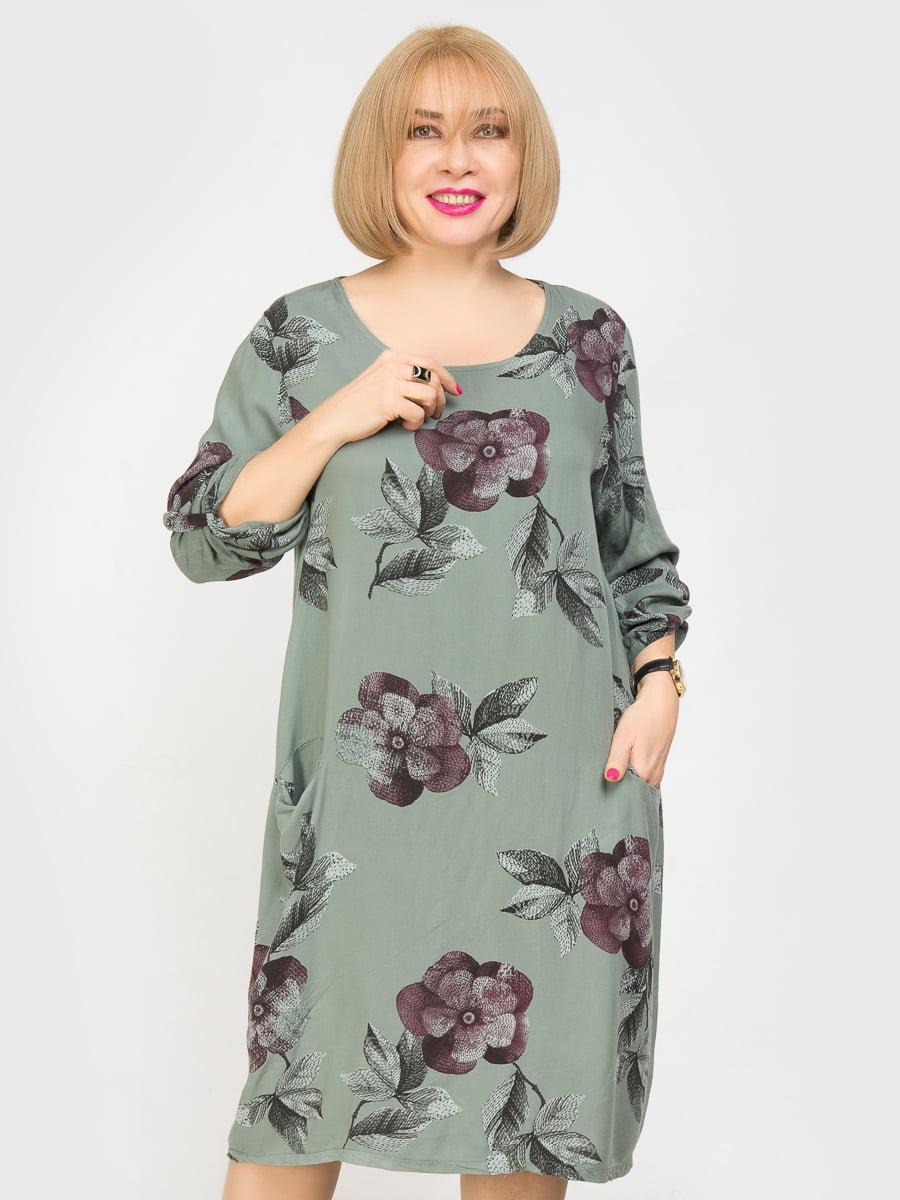 Платье оливкового цвета с цветочным принтом | 4917839