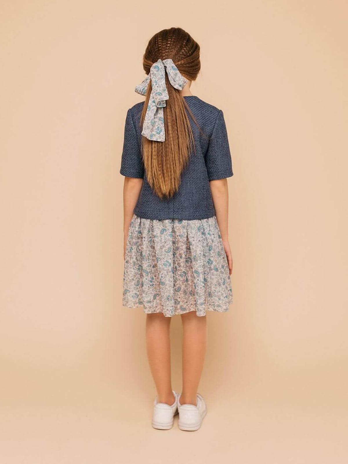 Платье синее с принтом | 4918891 | фото 2