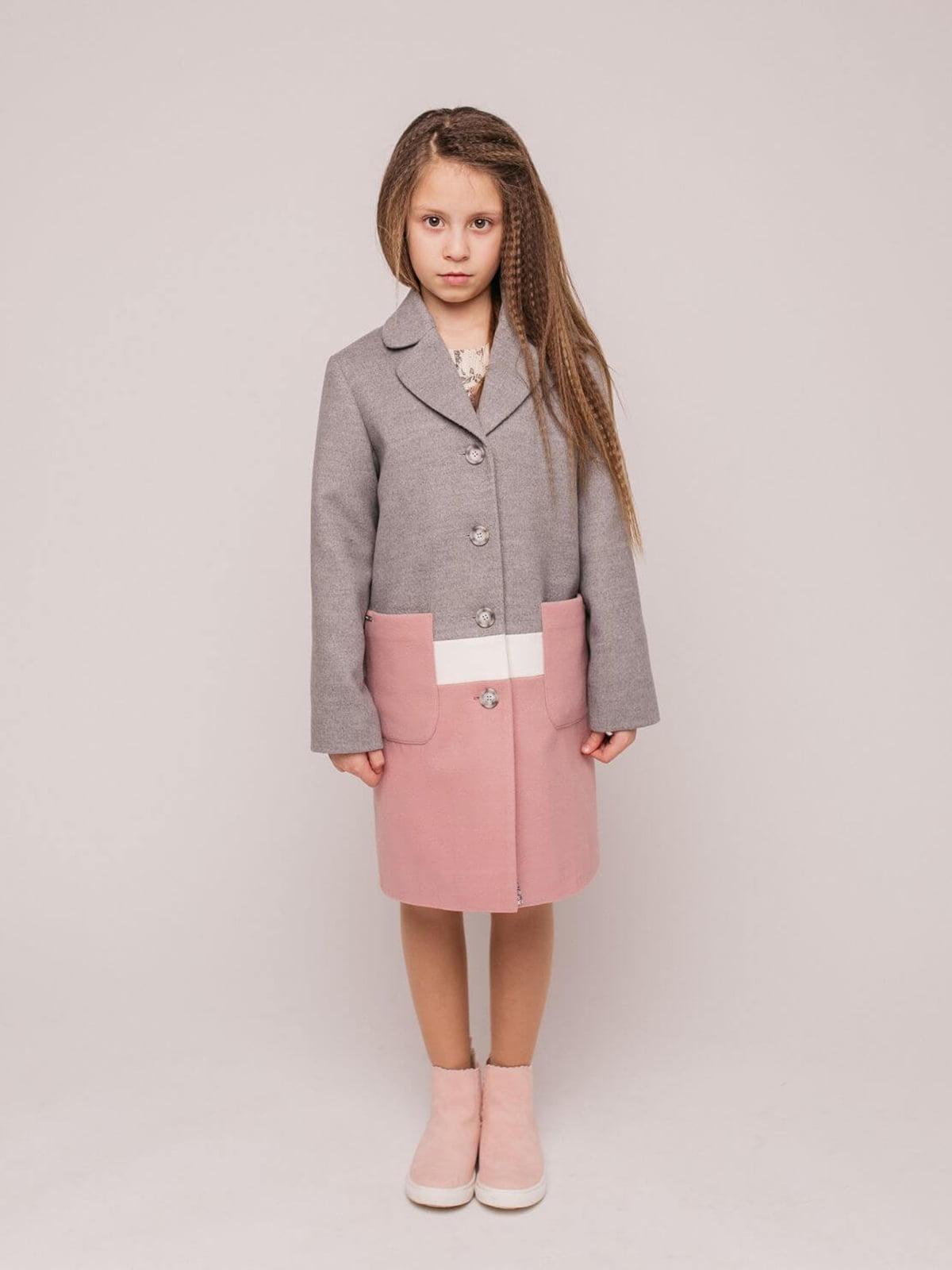 Пальто серо-розовое   4918896