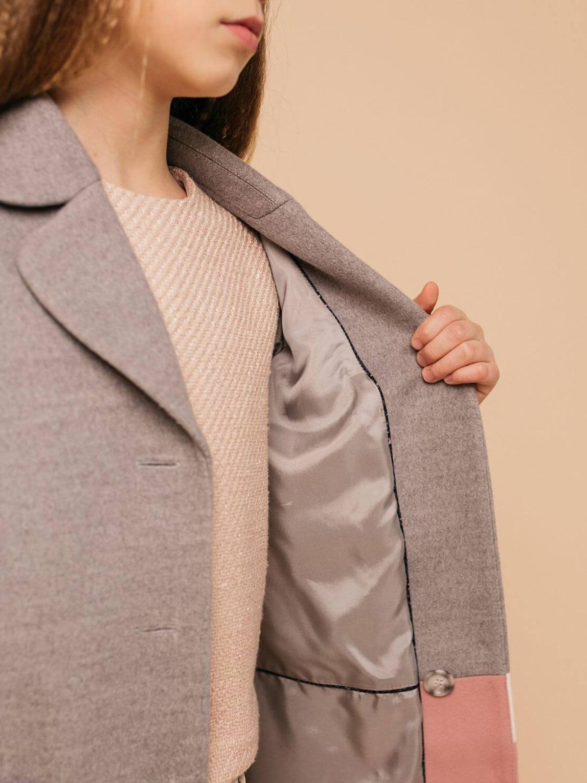 Пальто серо-розовое   4918896   фото 3
