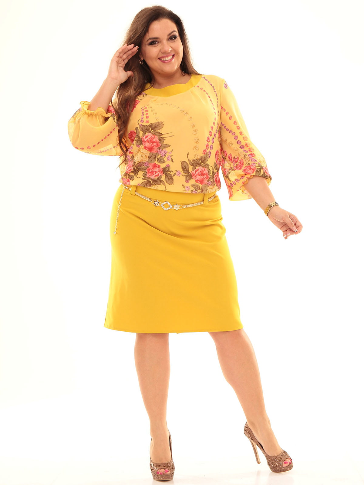 Платье цвета медовой горчицы | 4546257