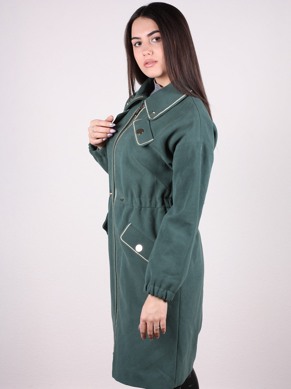 Пальто темно-зеленое | 4922385 | фото 2