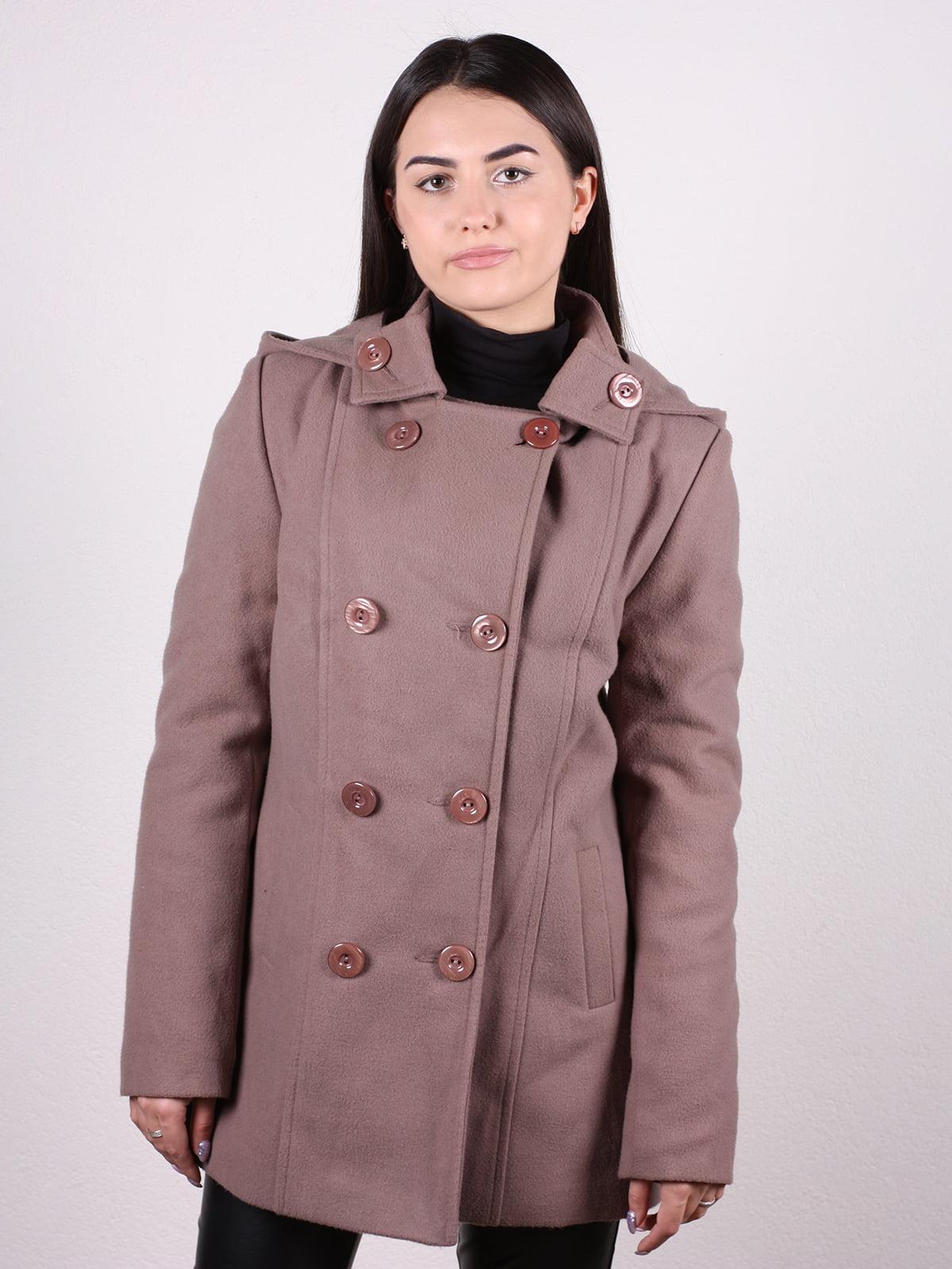 Пальто кофейно-пудрового цвета | 4922424