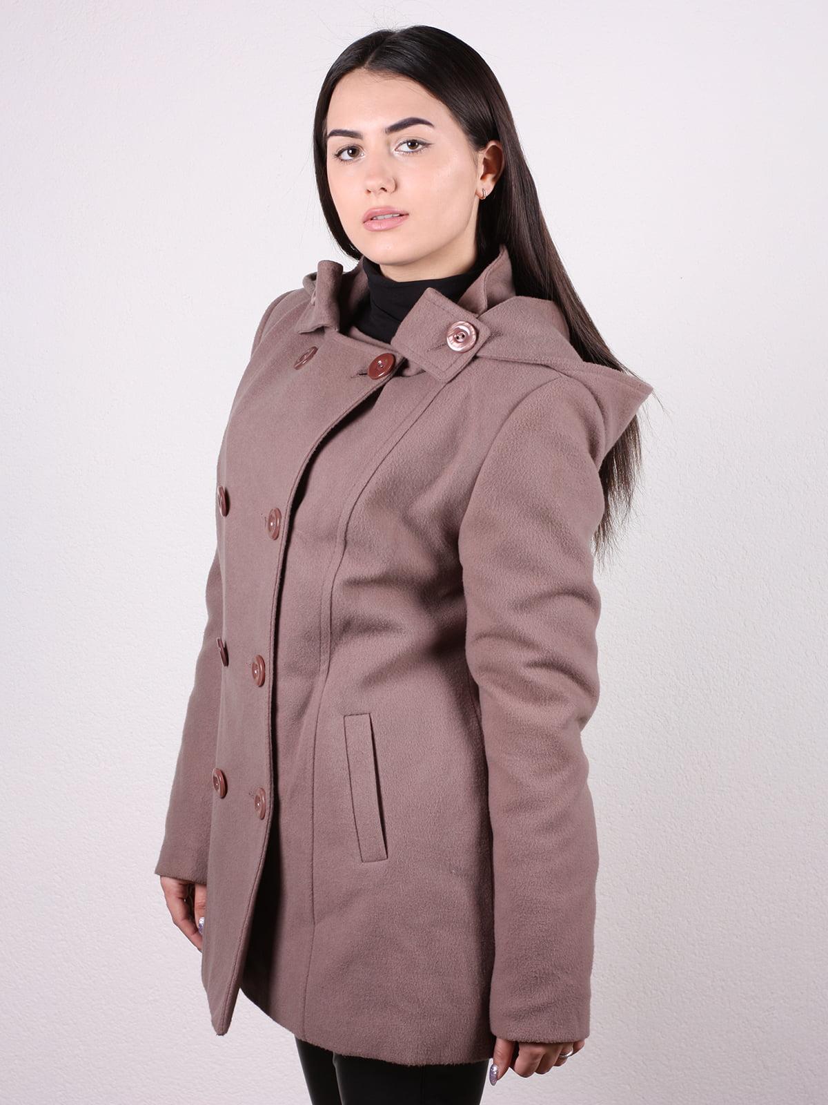 Пальто кофейно-пудрового цвета | 4922424 | фото 2