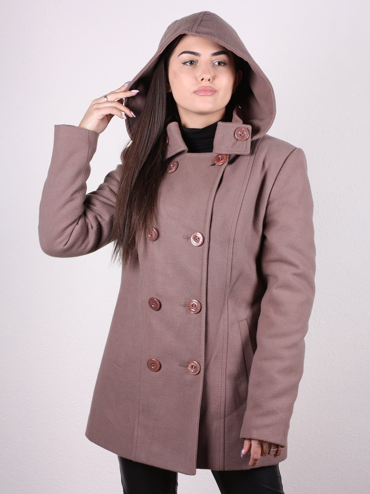 Пальто кофейно-пудрового цвета | 4922424 | фото 4