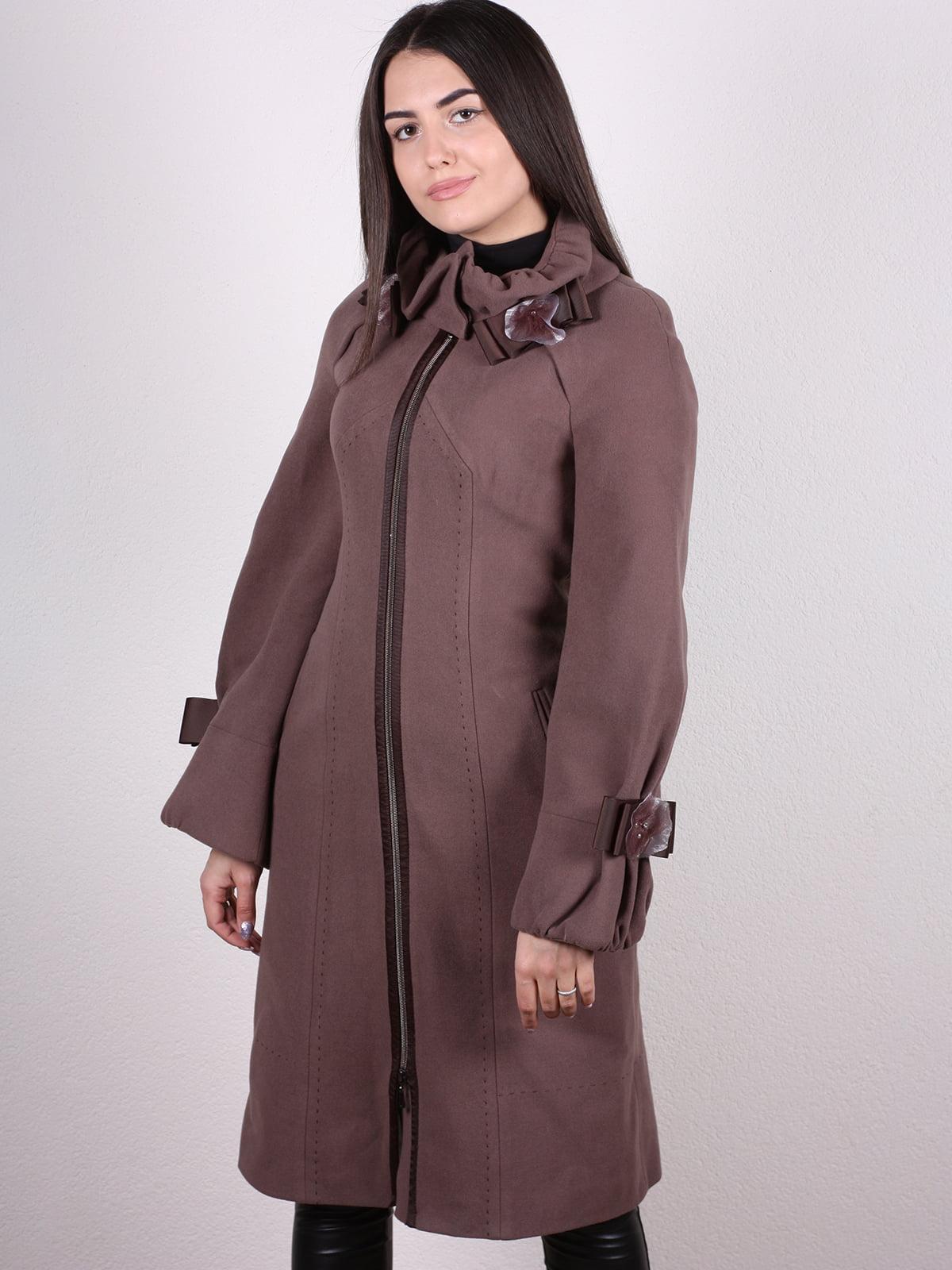 Пальто кофейно-сиреневого цвета | 4922431