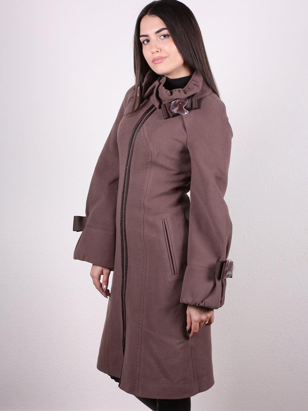 Пальто кофейно-сиреневого цвета | 4922431 | фото 2