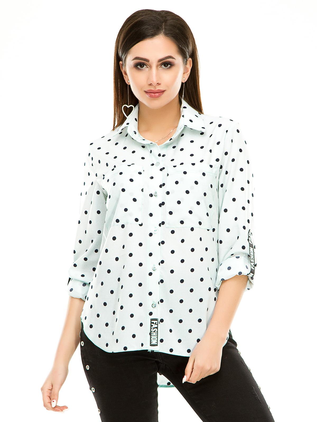 Рубашка мятного цвета в горошек | 4937160