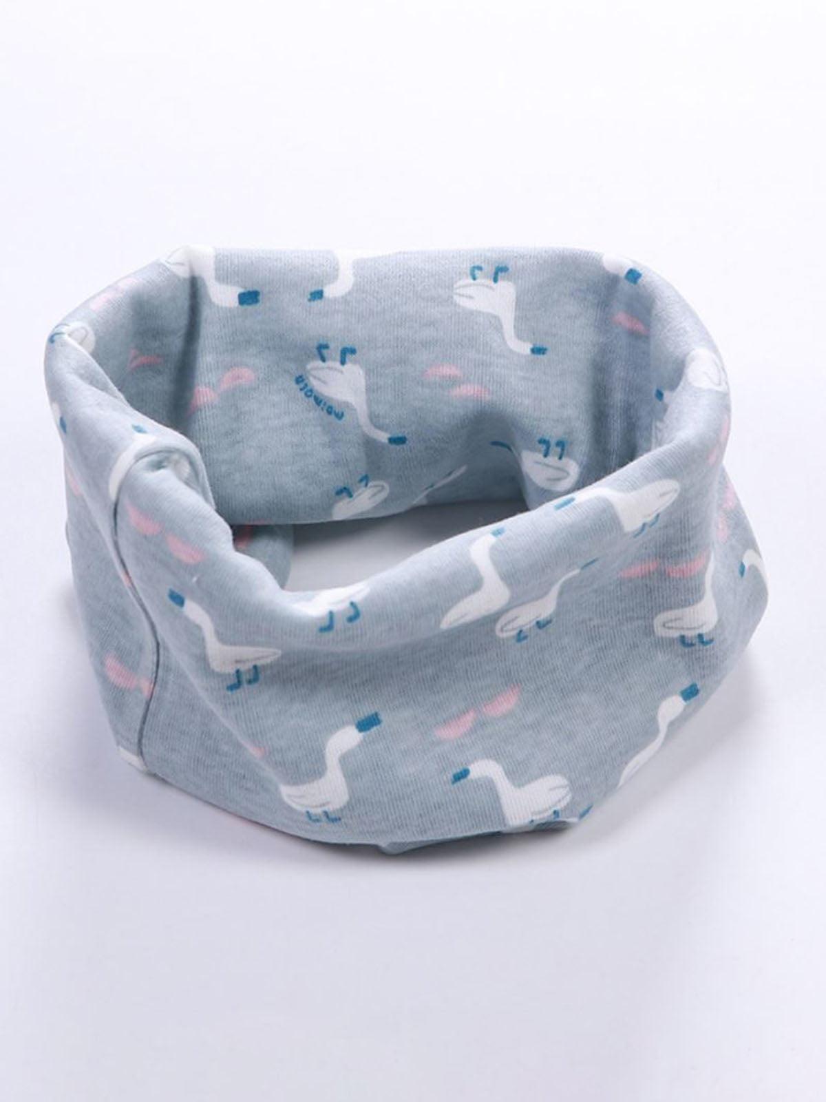 Шарф-хомут голубой в принт | 4944161