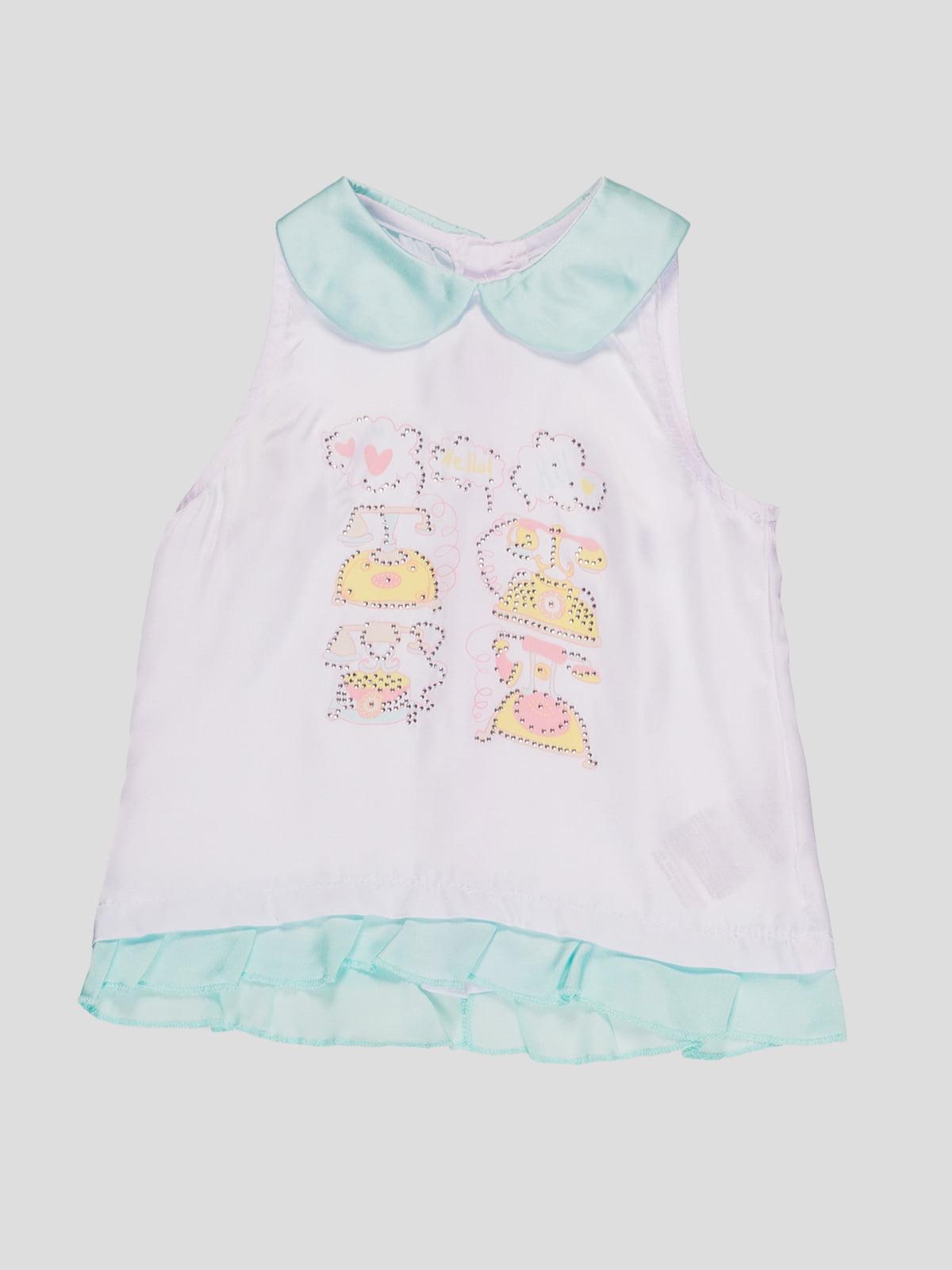 Блуза двоколірна з принтом | 4781397