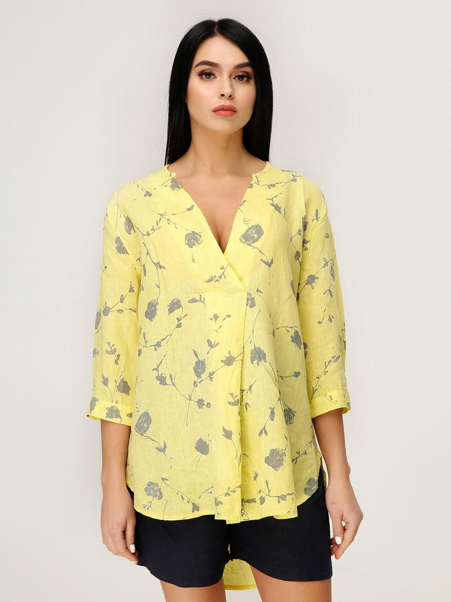 Блуза жовта в квітковий принт | 4949876
