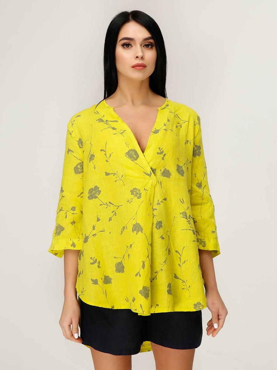 Блуза салатовая в цветочный принт   4949877
