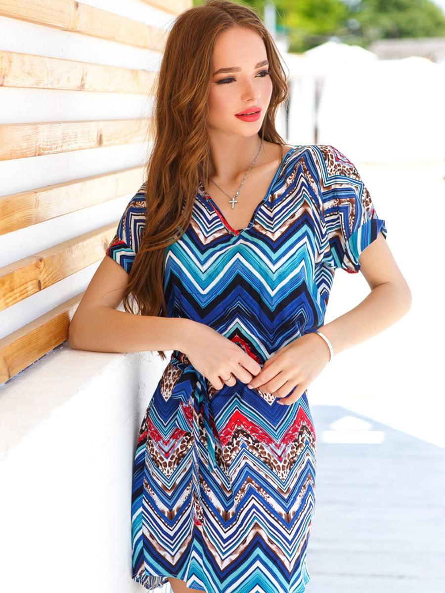 Платье синее в принт | 4839641