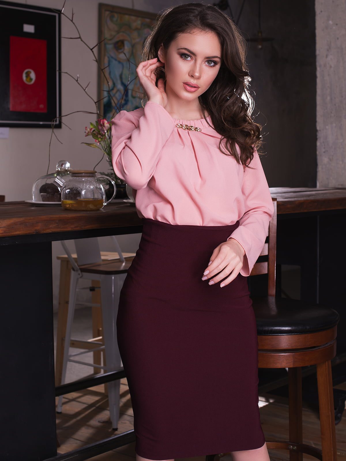 Блуза кольору пудри | 2634960