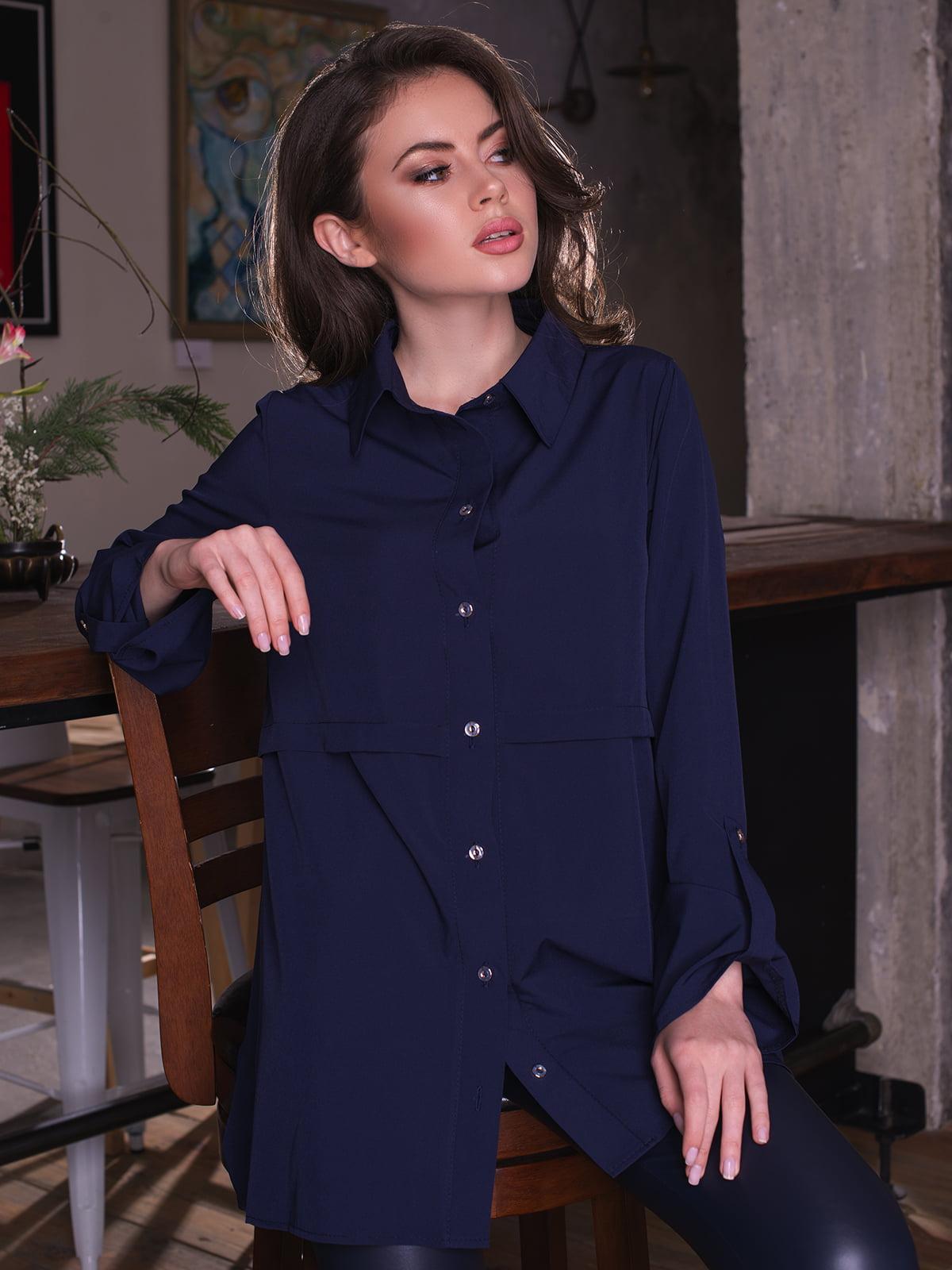 Сорочка темно-синя | 4613536