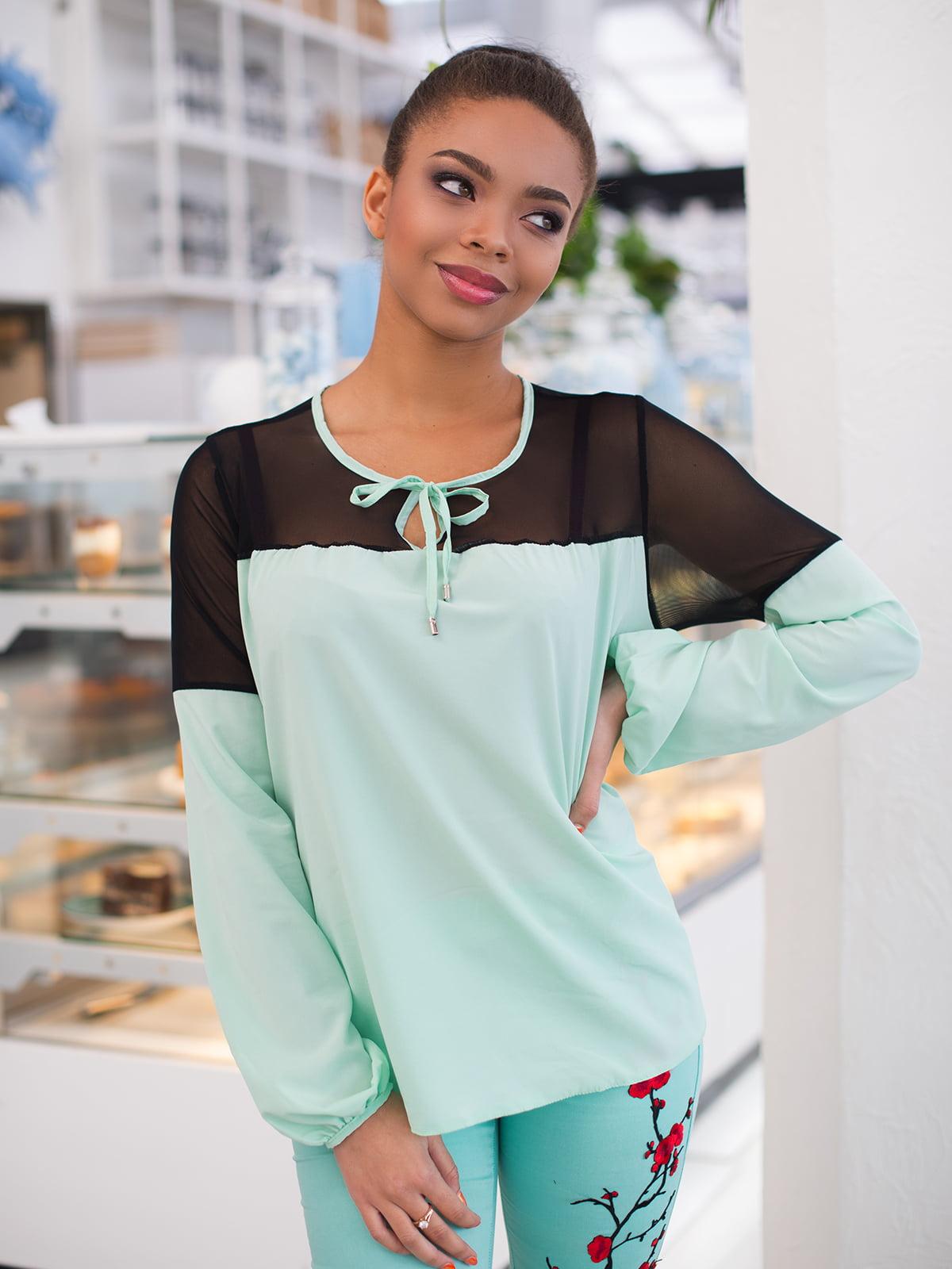 Блуза м'ятного кольору | 4613785