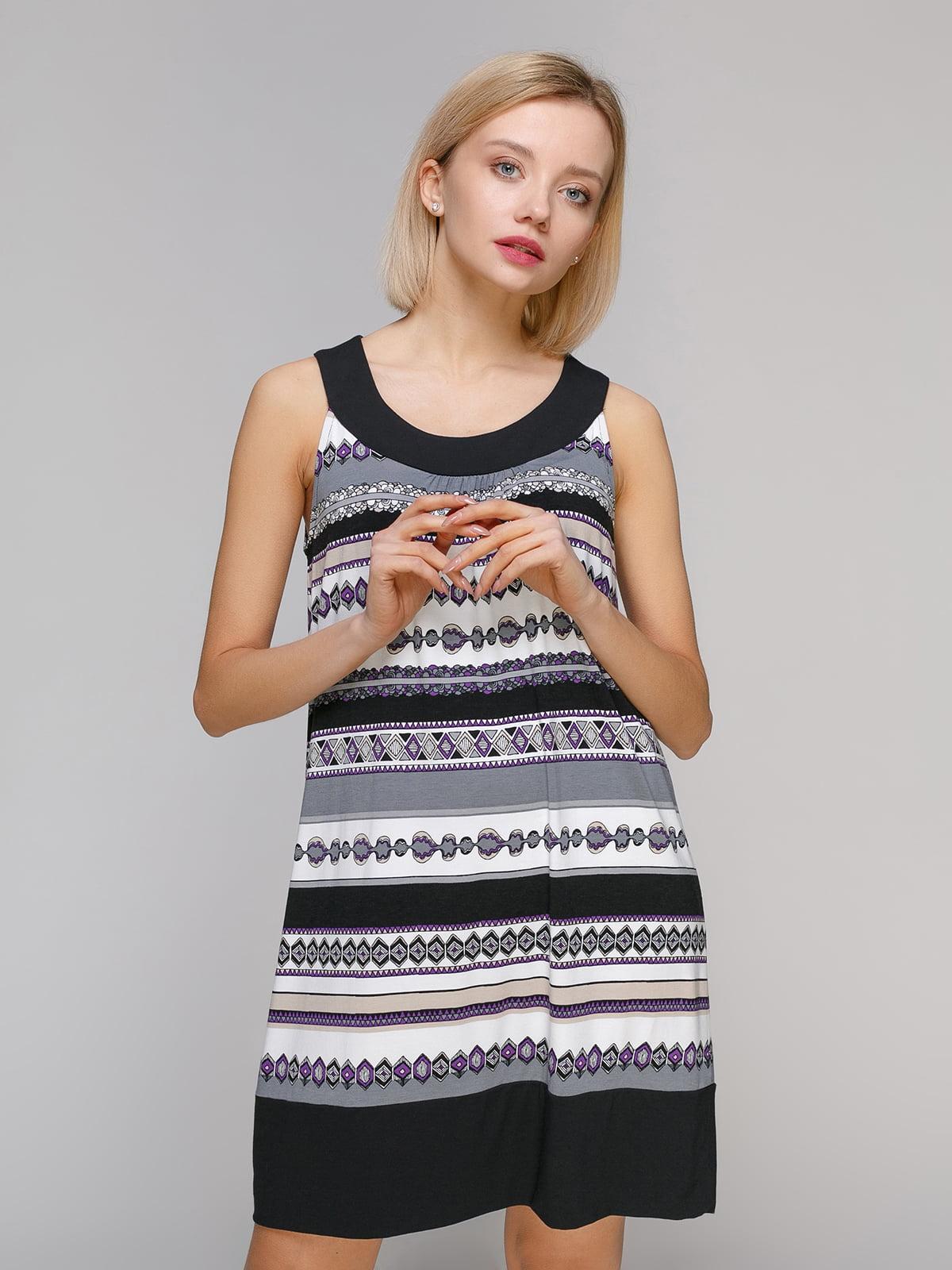 Сукня чорно-біла в принт | 4921944