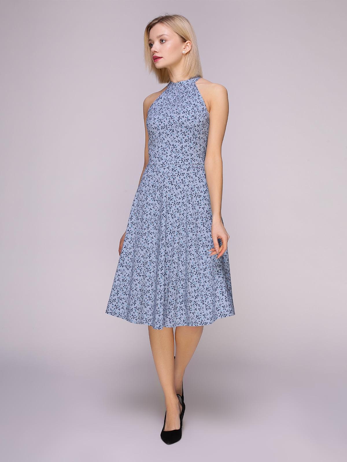 Сукня сіро-блакитна в квіти | 4951626