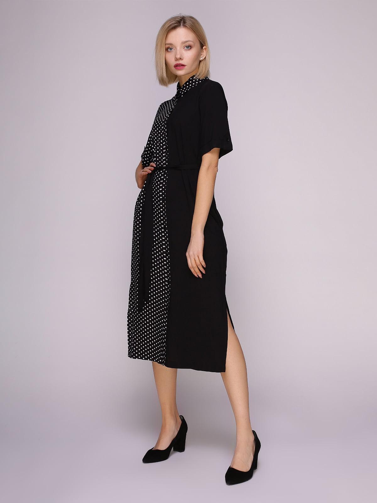 Платье-рубашка черное в горох | 4951628
