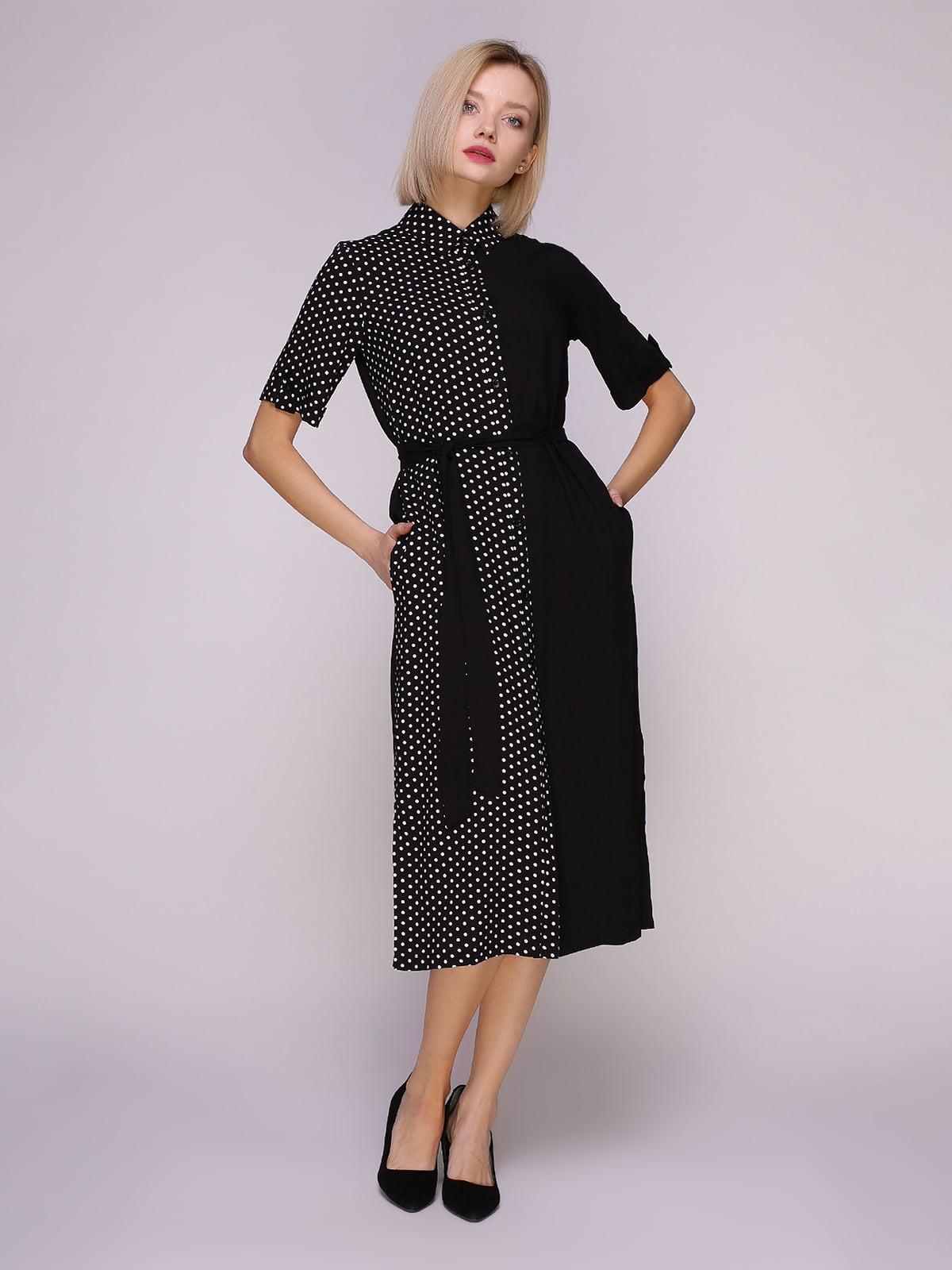 Платье-рубашка черное в горох | 4951628 | фото 2